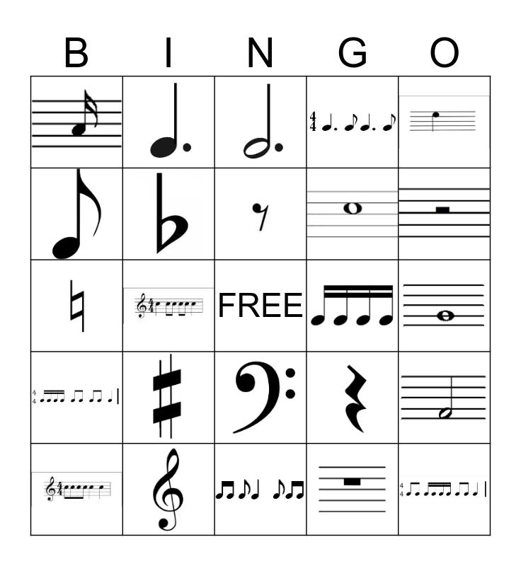 Simple Rhythms, Clefs, & Notes Bingo Card