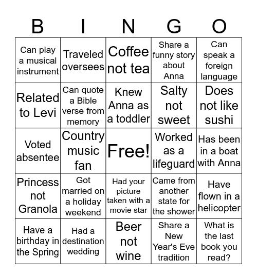 Anna's Shower Bingo Card