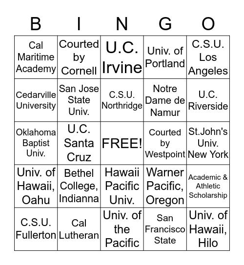 Academic & Athletic Scholarship Choices Bingo Card