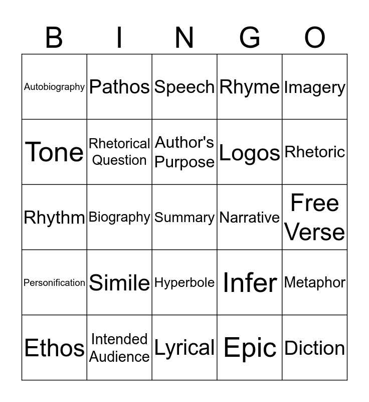 Literary Nonfiction and Poetry Bingo Card