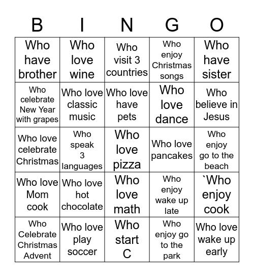 Merry Christmas...to you!!! Bingo Card