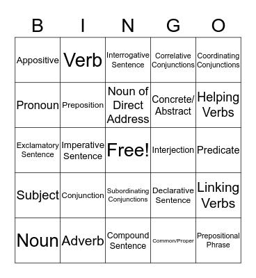 EEL Revoew Bingo Card