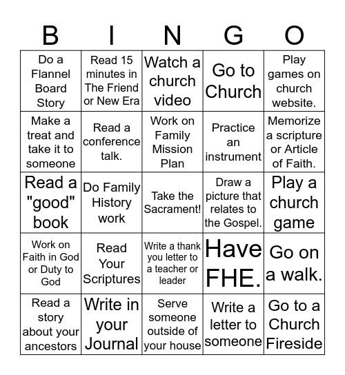 Keep the Sabbath Day Holy Bingo Card