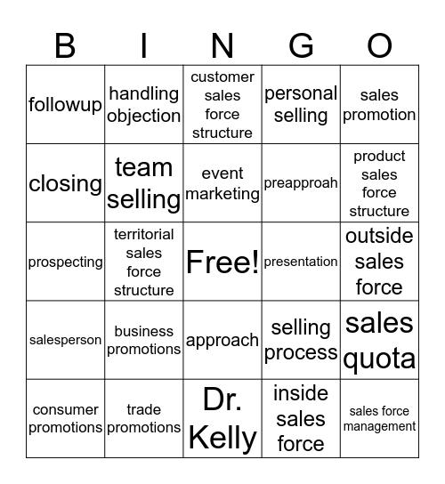 Chapter 13  Bingo Card