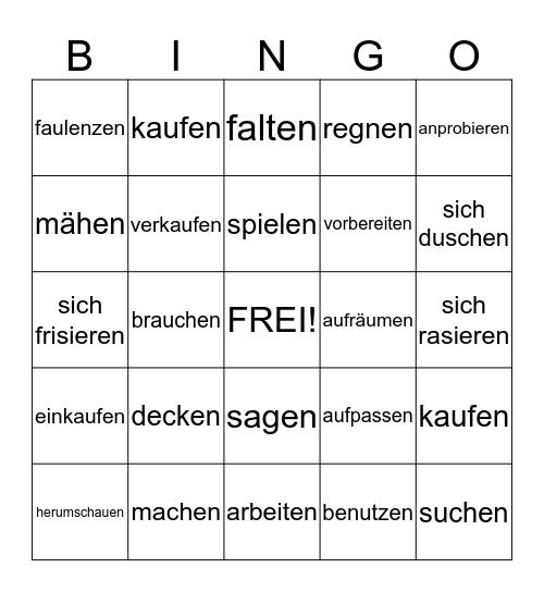die Partizipien (schwach) Bingo Card