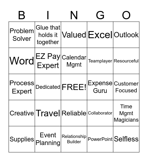Administrative Professionals Week Bingo Card
