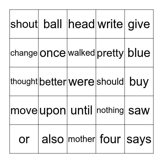 Orange Words Bingo Card