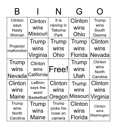 Election Bingo at Roscoe's Pizzaria 2016 Bingo Card