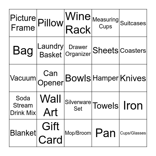Sarah's Bridal Shower Bingo Card