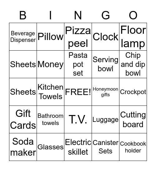 Dave and Jeanna's shower Bingo Card