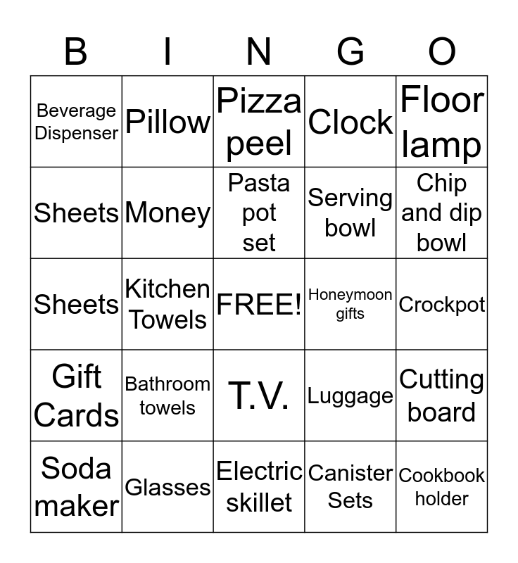 Dave and Jeanna's shower Bingo Card
