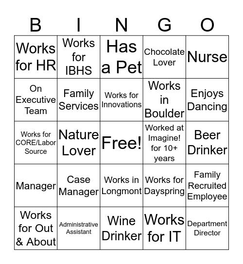 Imagine! Bingo  Bingo Card