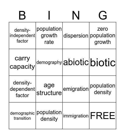 Miss Paul's Vocab Bingo Card