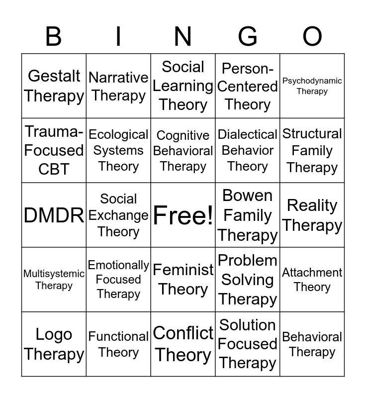 Theory Bingo Card