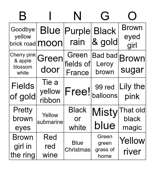 Colours Bingo Card