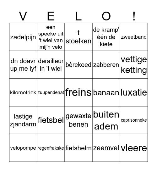 VELO! Bingo Card