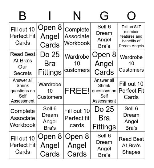 Bra Bingo Card