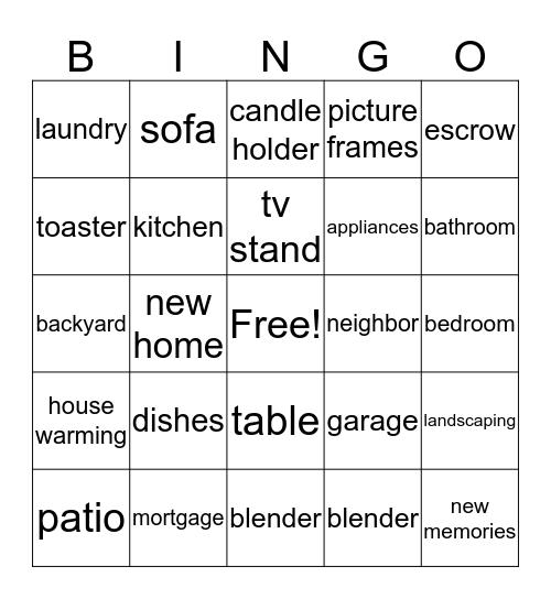 Vicki's Housewarming Bingo Card