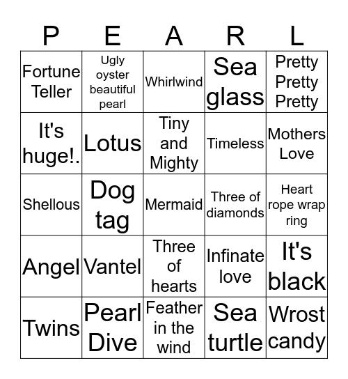 Roxy's Pearl Dive!. Bingo Card