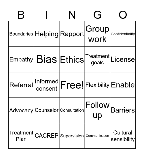 Counseling Bingo Card
