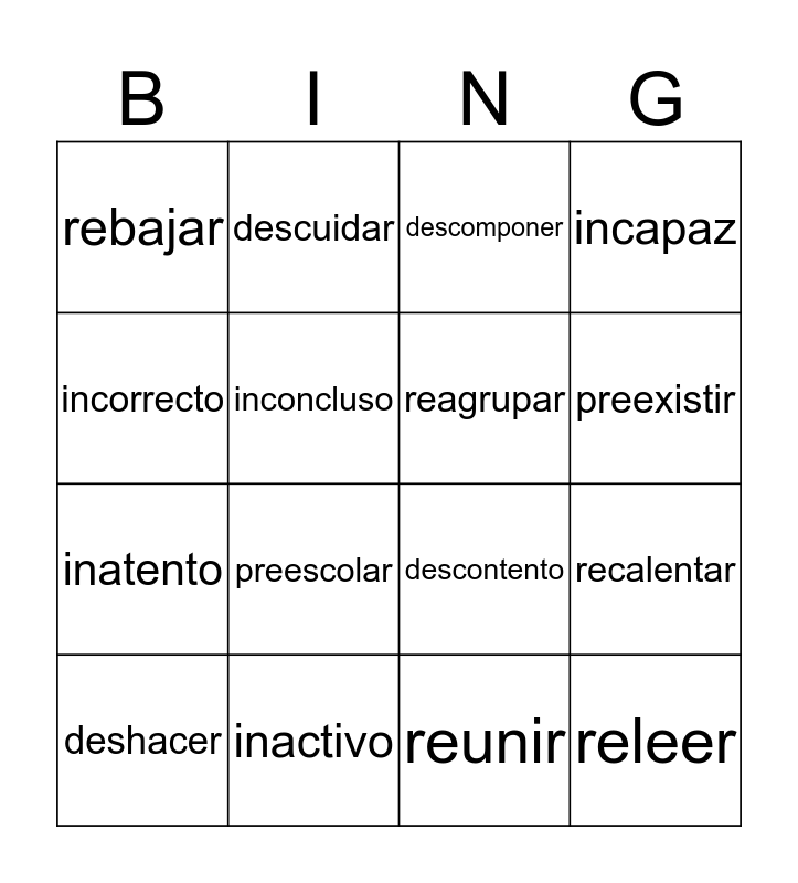 Prejios Bingo Card