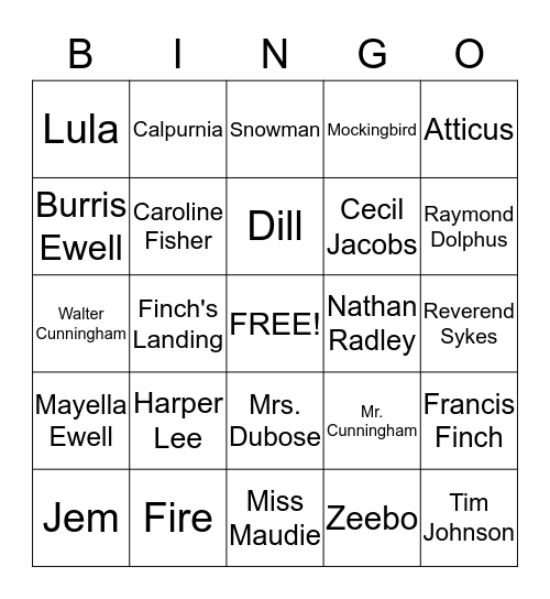 To Kill a Mockingbird Bingo Card
