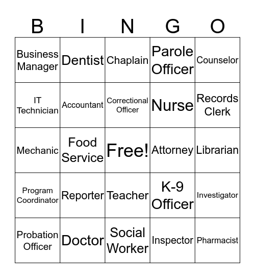 Correctional Career BINGO Card
