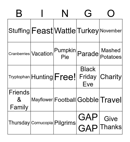Thanksgiving Bingo Card