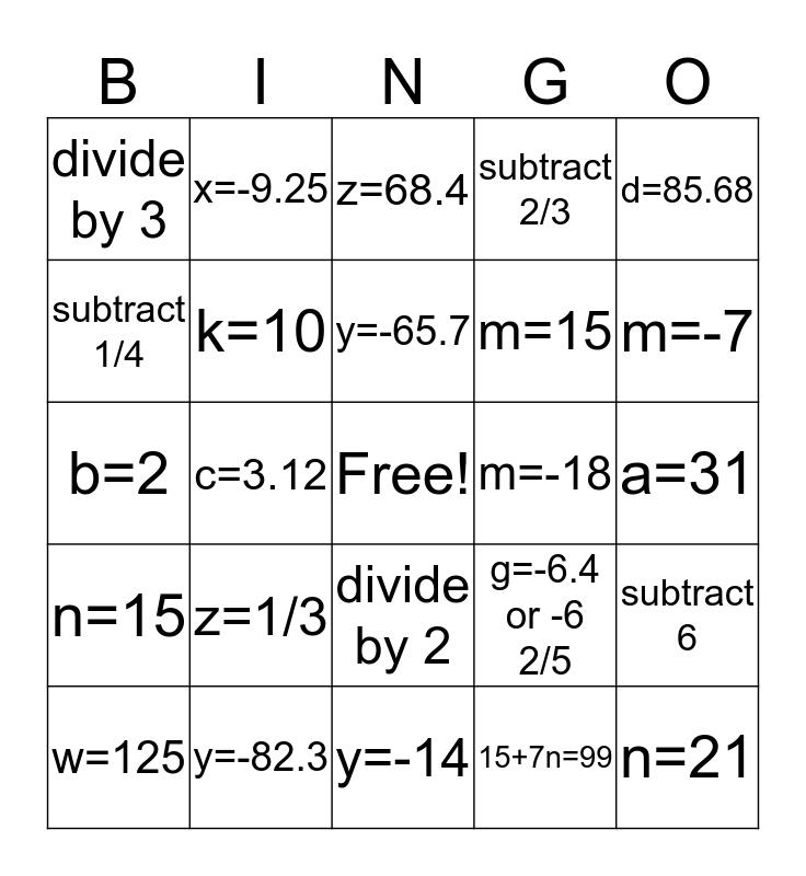 Algebraic Equations Bingo Card