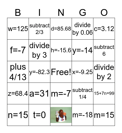 Algebraic Equations Bingo Card