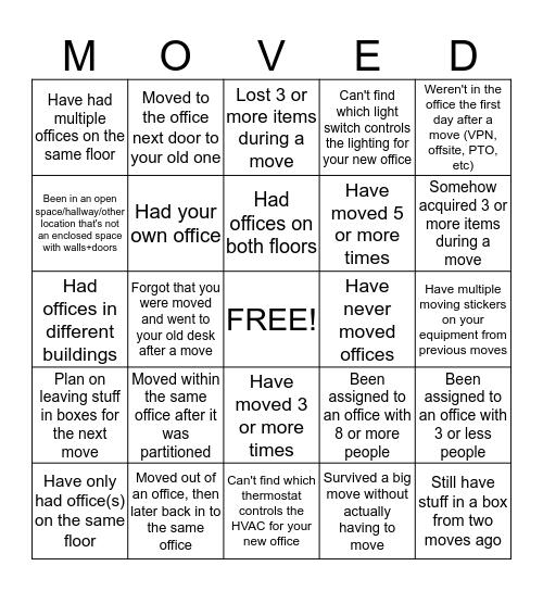 (mt) Office Move Bingo Card