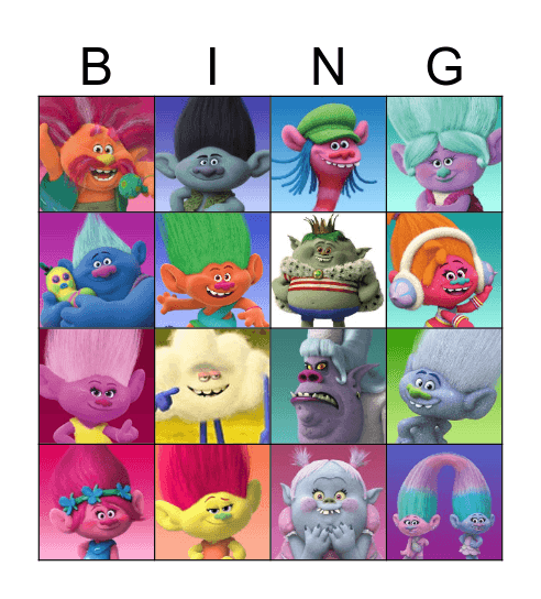 Trolls Bingo Card