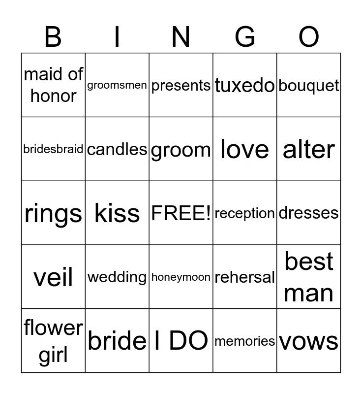 Dr.Crewe's Wedding Bingo Card