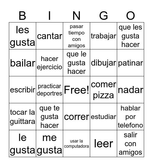 Spanish likes+dislikes Bingo Card