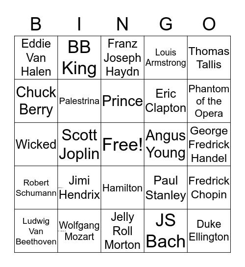 Musical Name-it Bingo Card