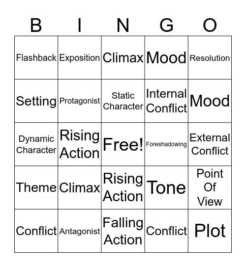 Literary Elements  Bingo Card