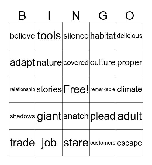 Vocabulary Review  Bingo Card