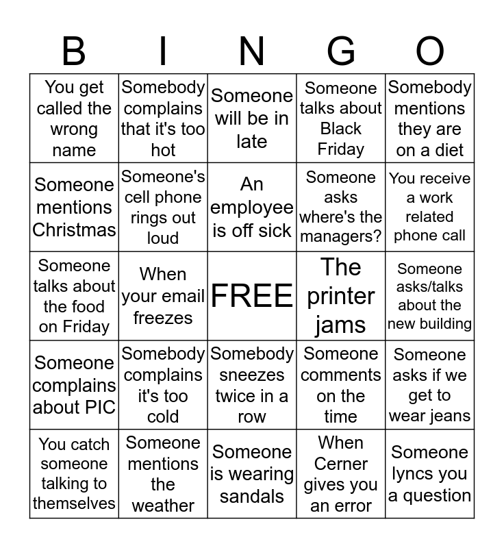 PFS Bingo Card