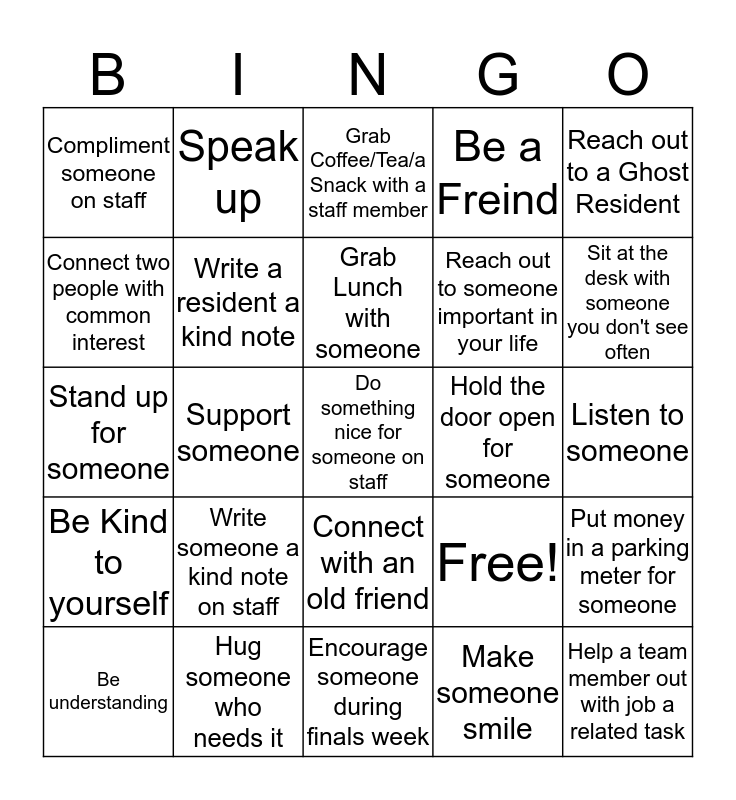Kindness Bingo Card