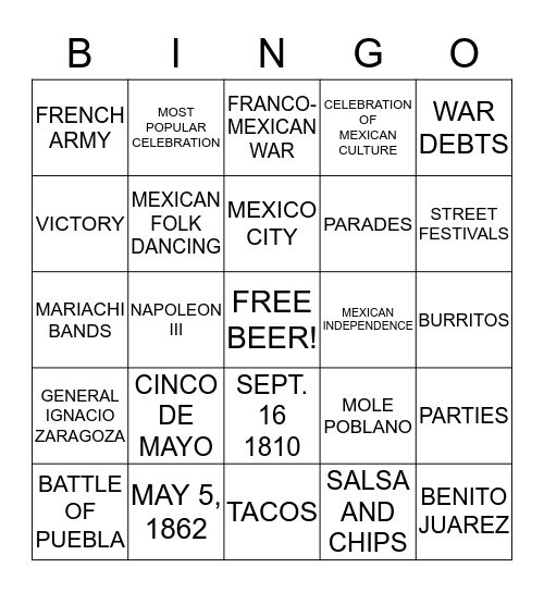 CINCO DE MAYO BINGO Card