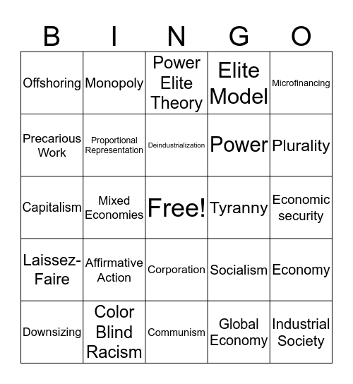 Chapter 16: Government & Economy Bingo Card