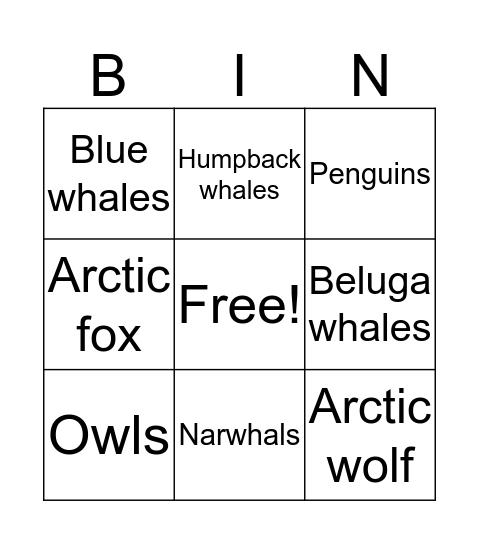 Tundra Bingo Card