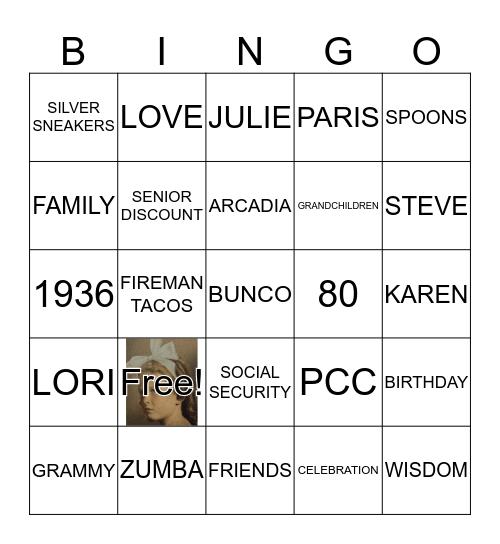 MARILYN MAZONE'S 80TH BINGO BASH! Bingo Card