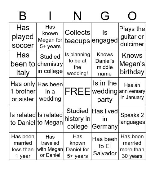 Bridal Bingo ~ Find a person who... Bingo Card