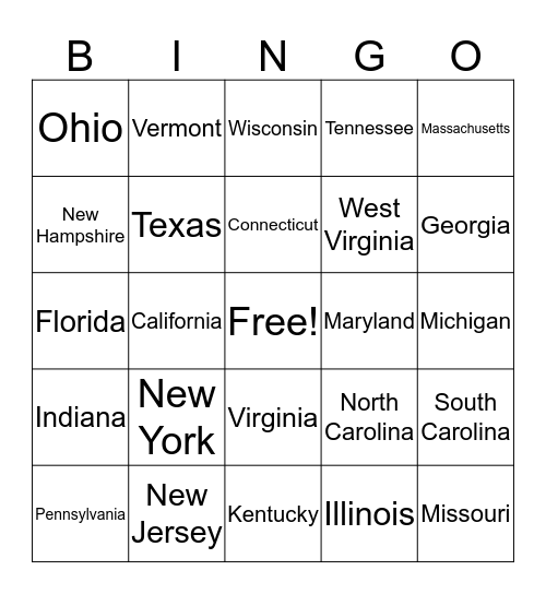 License Plate Bingo Card