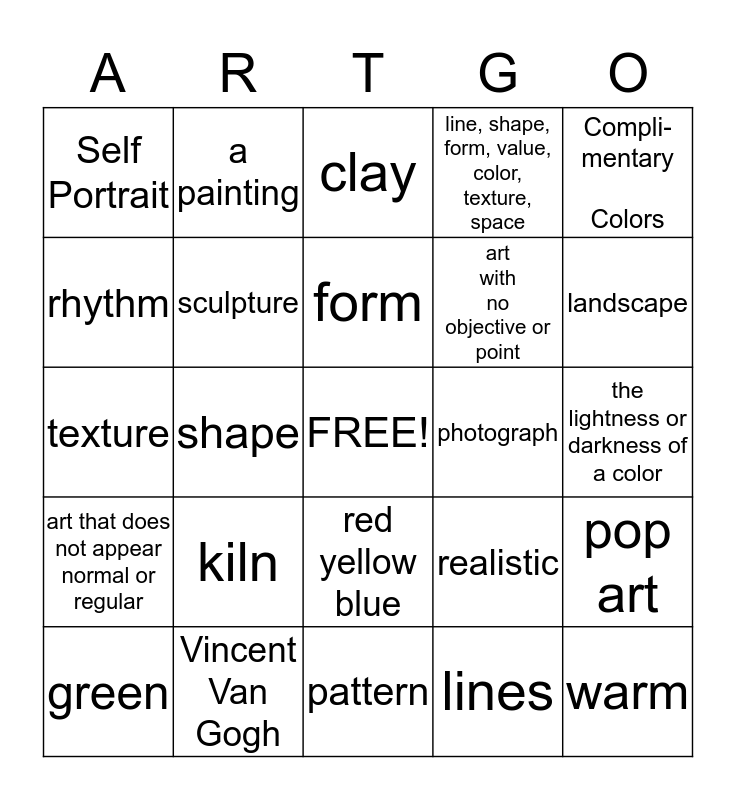 Art Assessment Bingo Card