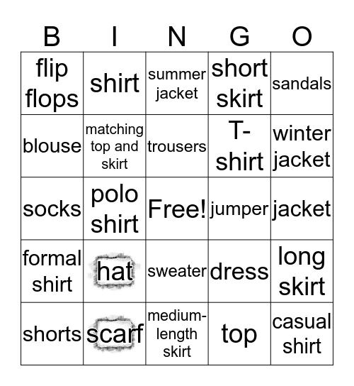 Clothes in English Bingo Card