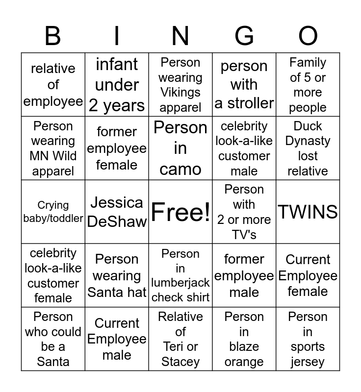 Walmart Thanksgiving Bingo Card