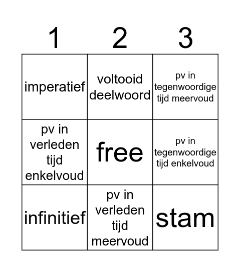 werkwoorden Bingo Card