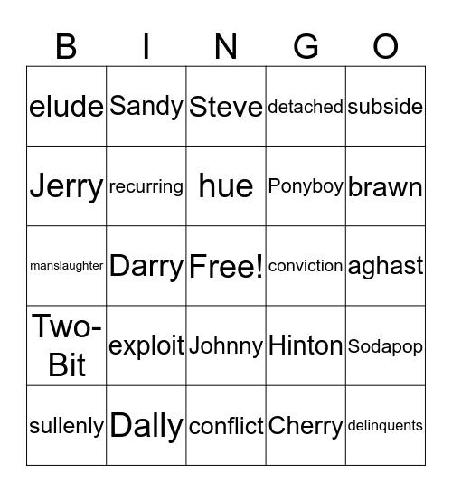 The Outsiders Ch 5-7 Bingo Card